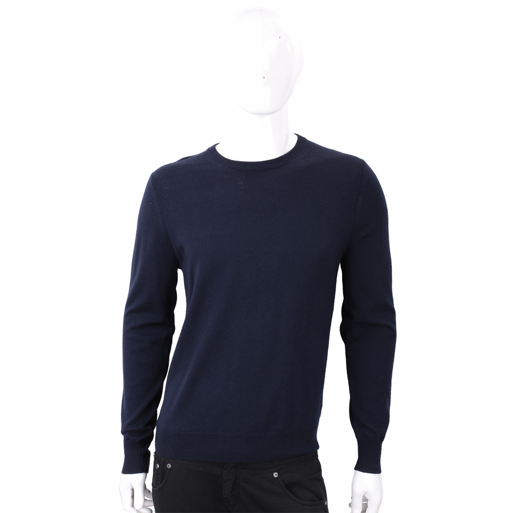 BURBERRY 100%美麗諾羊毛深藍色格紋細節針織衫