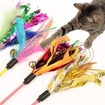 DYY》響紙鈴鐺羽毛彈性細款趣味逗貓棒共2支-(桿長約48cm)隨機出貨