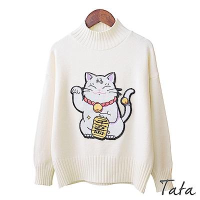 招財貓貼布針織上衣 共三色 TATA