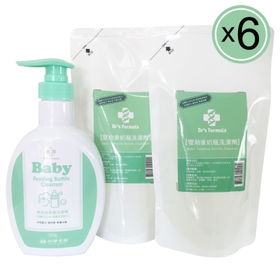 台塑生醫Dr's Formula 嬰幼童奶瓶洗潔劑超值組(1罐+2包)/6組