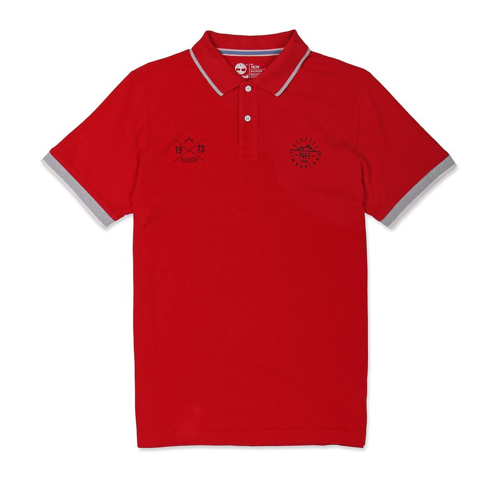 Timberland 男款暗紅色拼接刺繡短袖Polo衫