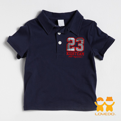 【LOVEDO艾唯多童裝】運動球員23號 潮流短袖Polo衫 (深藍)