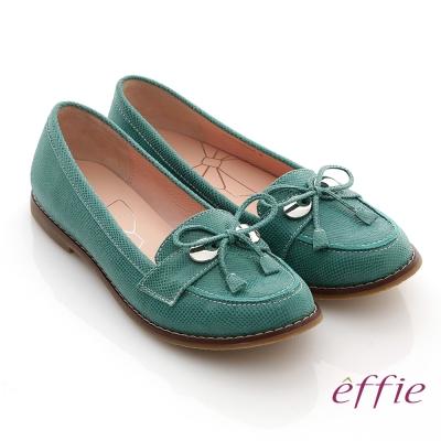 effie 俐落職場 全真皮絨面細帶蝴蝶結飾平底鞋 綠