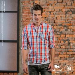ROUSH (Slim fit) 鐵牌設計亮色系格紋襯衫 (4色)