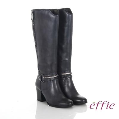 effie 魅力時尚 真皮V型金屬鍊條粗高跟長靴 深藍