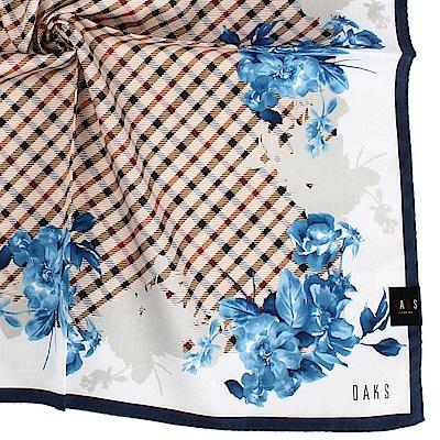 DAKS經典格紋花卉冷色系純棉帕巾-藍