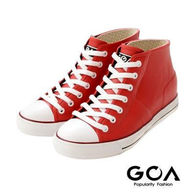 GOA 街頭時尚.男款內增高帆布款橡膠雨鞋-紅