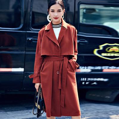 純色西裝領綁帶長袖長款風衣 (共二色)-Kugi Girl