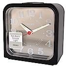 SEIKO 精工 現代藝術消光黑 金屬銀面板 滑動式秒針 靜音鬧鐘 (QHK048K)
