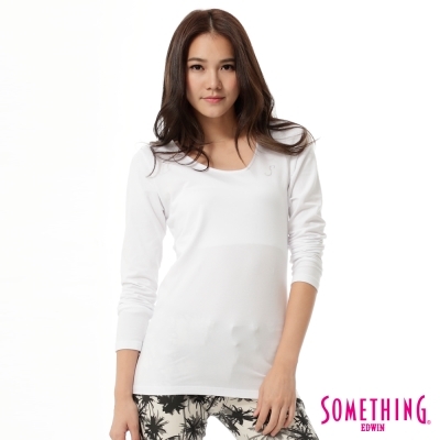 SOMETHING-斜V領燙鑽T恤-女-白色