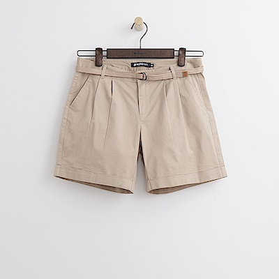 Hang Ten - 女裝 - 小反摺腰帶短褲-卡其色