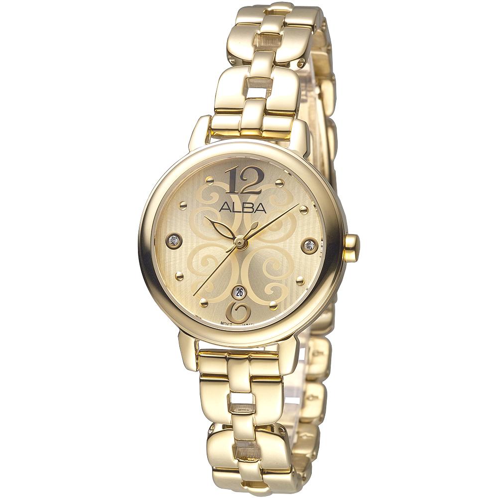 ALBA雅柏手錶 美漾智慧時尚知性女錶-銀白/棕色皮帶(AH7J94X1)/32mm 保固二年