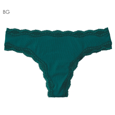 aimerfeel 淑女素面蕾絲無痕丁字褲-藍綠色