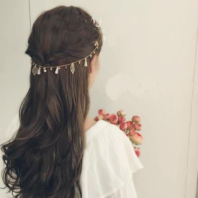 梨花HaNA-韓國柔和美感粉水晶葉子後掛髮鍊
