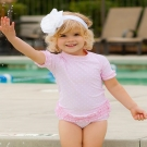 RuffleButts 小女童粉紅點點款荷葉邊短袖泳衣