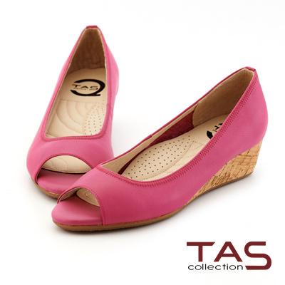 TAS-太妃Q系列-牛皮素面魚口楔型鞋-亮麗桃