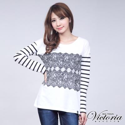 Victoria 蕾絲印花長袖T-女-白色