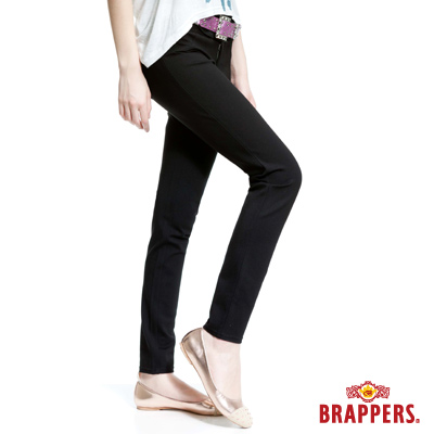 BRAPPERS 女款 新美尻系列-女用中腰彈性九分褲-黑