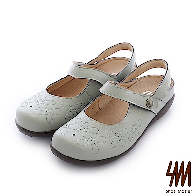 SM-台灣全真皮-花朵懶人寬版紓壓方頭平底涼鞋-藍色