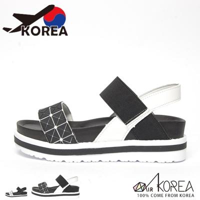 AIRKOREA-韓國空運格紋幾何圖形厚底休閒涼鞋
