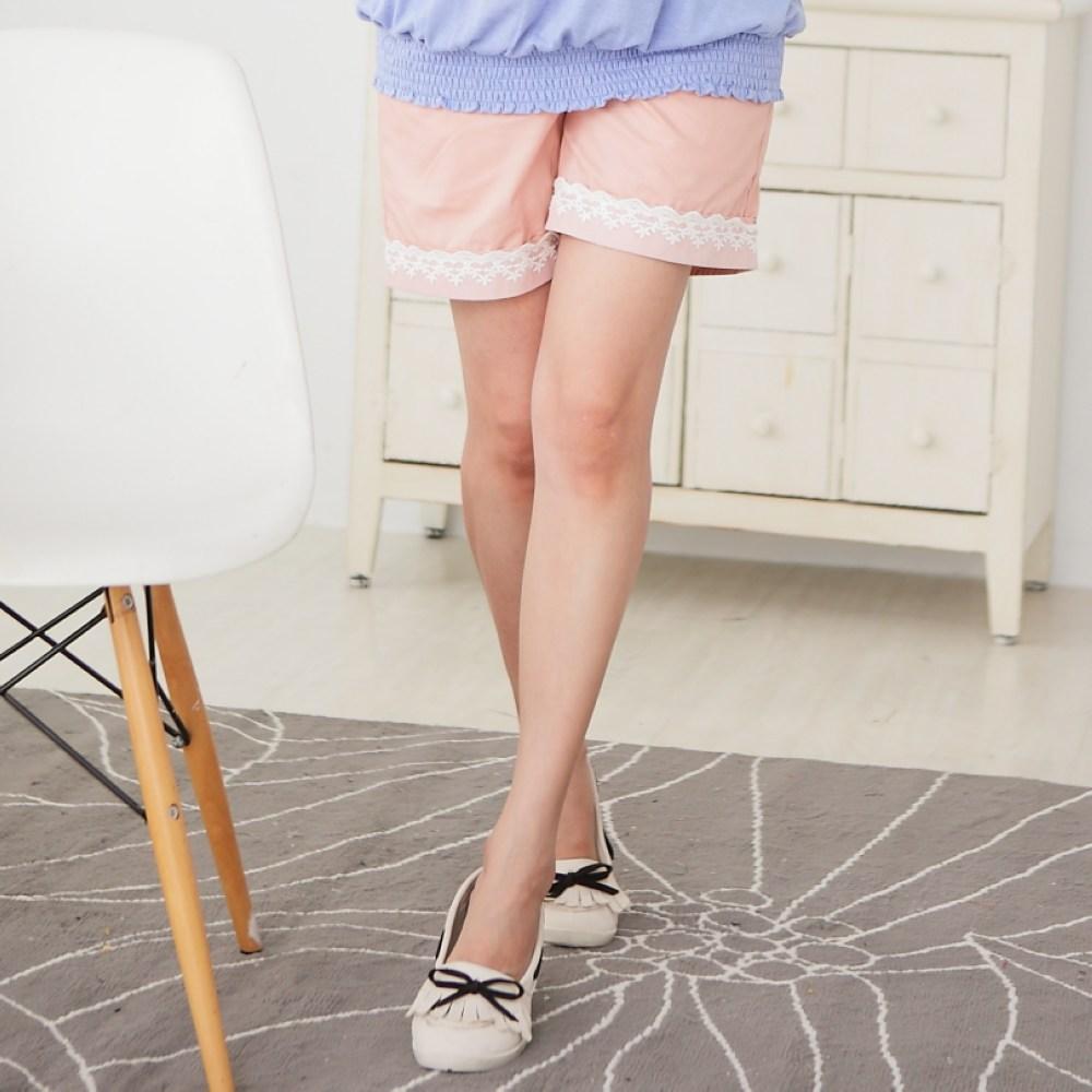 【Keep Chic孕婦裝】粉色可愛拼接蕾絲短褲