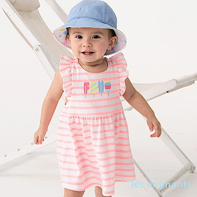 les enphants baby條紋冰淇淋荷葉吊帶式洋裝 螢光粉