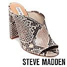STEVE MADDEN-VISTA 魚口粗高跟涼拖鞋-蛇紋