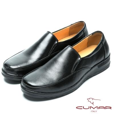 CUMAR 舒適真皮 舒適大底真皮休閒皮鞋-黑色