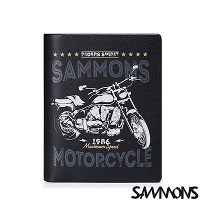 SAMMONS 真皮壓印摩托車直式短夾  率性黑