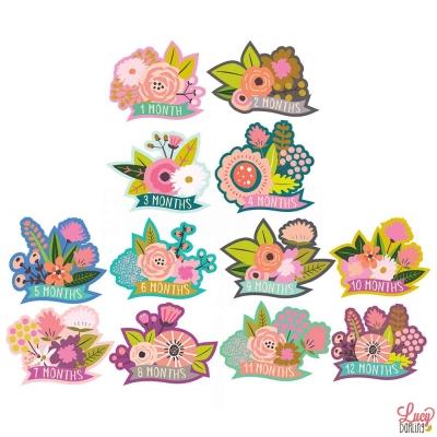 Lucy Darling 繽紛花卉系列寶寶成長紀念成就貼紙