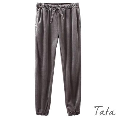 鬆緊腰繫帶絲絨休閒褲-共二色-TATA