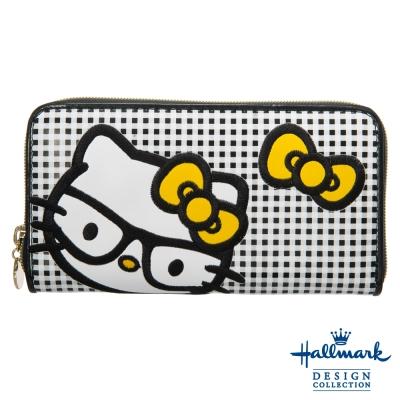 Hallmark x Kitty凱蒂聯名款學院格紋拉鍊長夾-黑色HLKT15A194BK