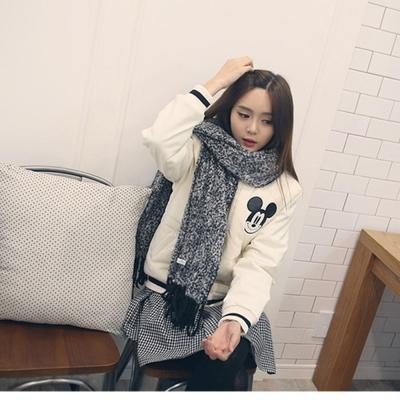 梨花HaNA-韓國圈圈絨混黑白毛織長圍巾