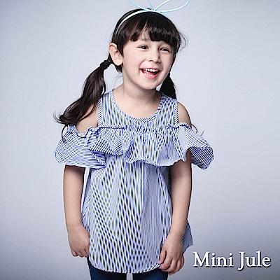 Mini Jule 童裝-上衣 直條荷葉領露肩上衣(彩藍)