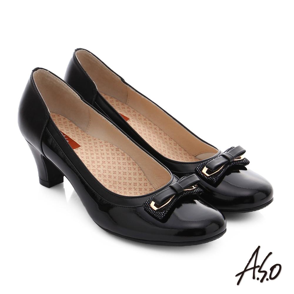 A.S.O 舒活寬楦 牛皮蝴蝶結奈米窩心低跟鞋 黑色