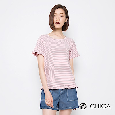 CHICA 俏皮夏日橫條紋口袋造型上衣(2色)