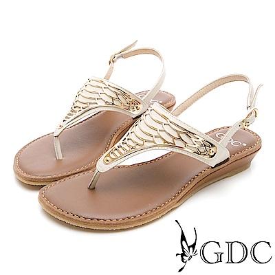 GDC-真皮金屬平底夾腳涼鞋-米杏色