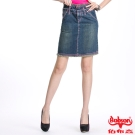 BOBSON 女款雙腰頭粉色車線牛仔短裙(藍D071-53)