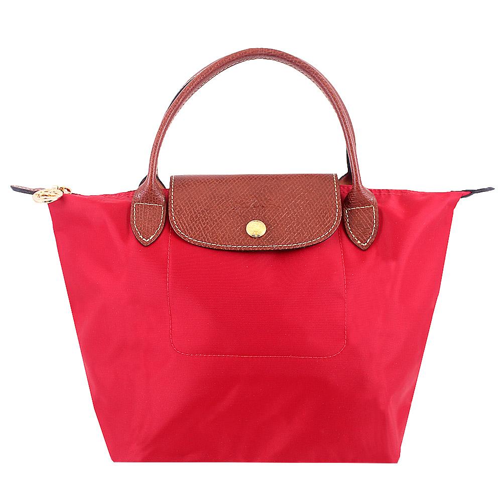 Longchamp短帶皮飾邊折疊水餃包(紅色/小)LONGCHAMP
