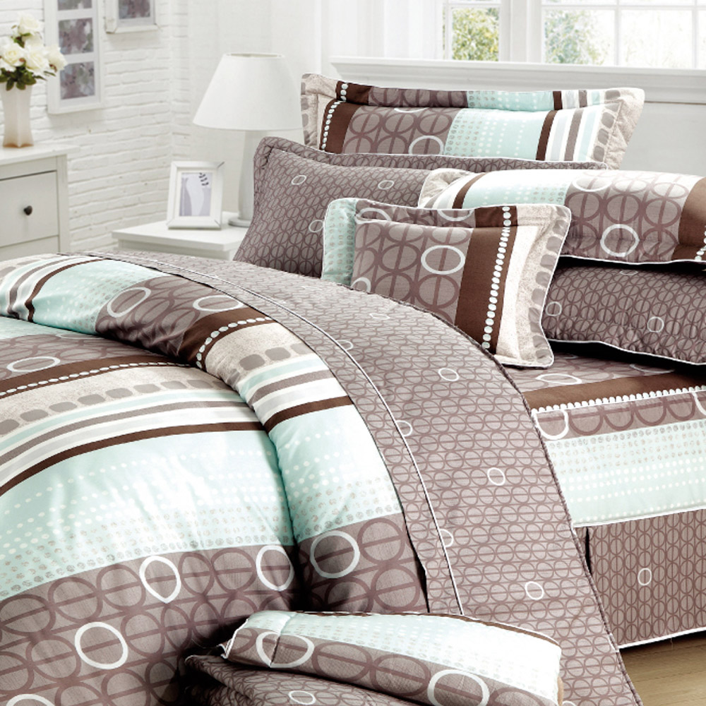 艾莉絲-貝倫 甜蜜圈圈 100%純棉 雙人鋪棉兩用被床包四件組
