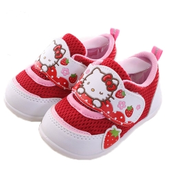 Hello Kitty 草莓魔鬼貼寶寶鞋 紅白 sh0035 魔法Baby