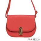 La Moda百搭出遊必備特殊旋釦肩背斜背包(紅)