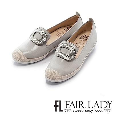 Fair Lady Soft Power軟實力 水鑽草編樂福休閒鞋 淺灰