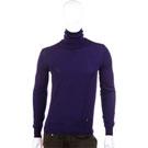 VERSACE 素面美麗諾羊毛高領針織上衣(紫色)