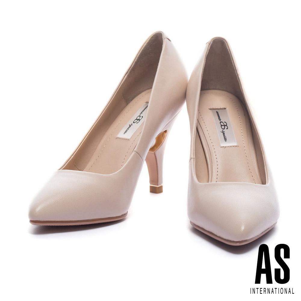高跟鞋 AS 柔美迷人鑲嵌珍珠美型羊皮尖頭高跟鞋-米