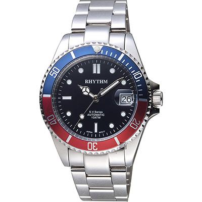 RHYTHM日本麗聲 Sport 100米機械手錶-藍x紅圈/40mm