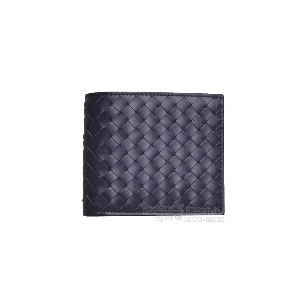 BOTTEGA VENETA 經典小羊皮編織八卡片短夾(深夜藍)