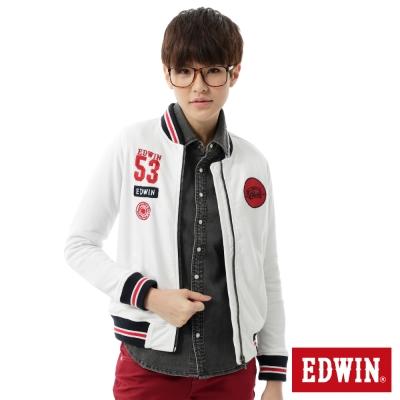 EDWIN 外套 復古繡字棒球外套-女-白色