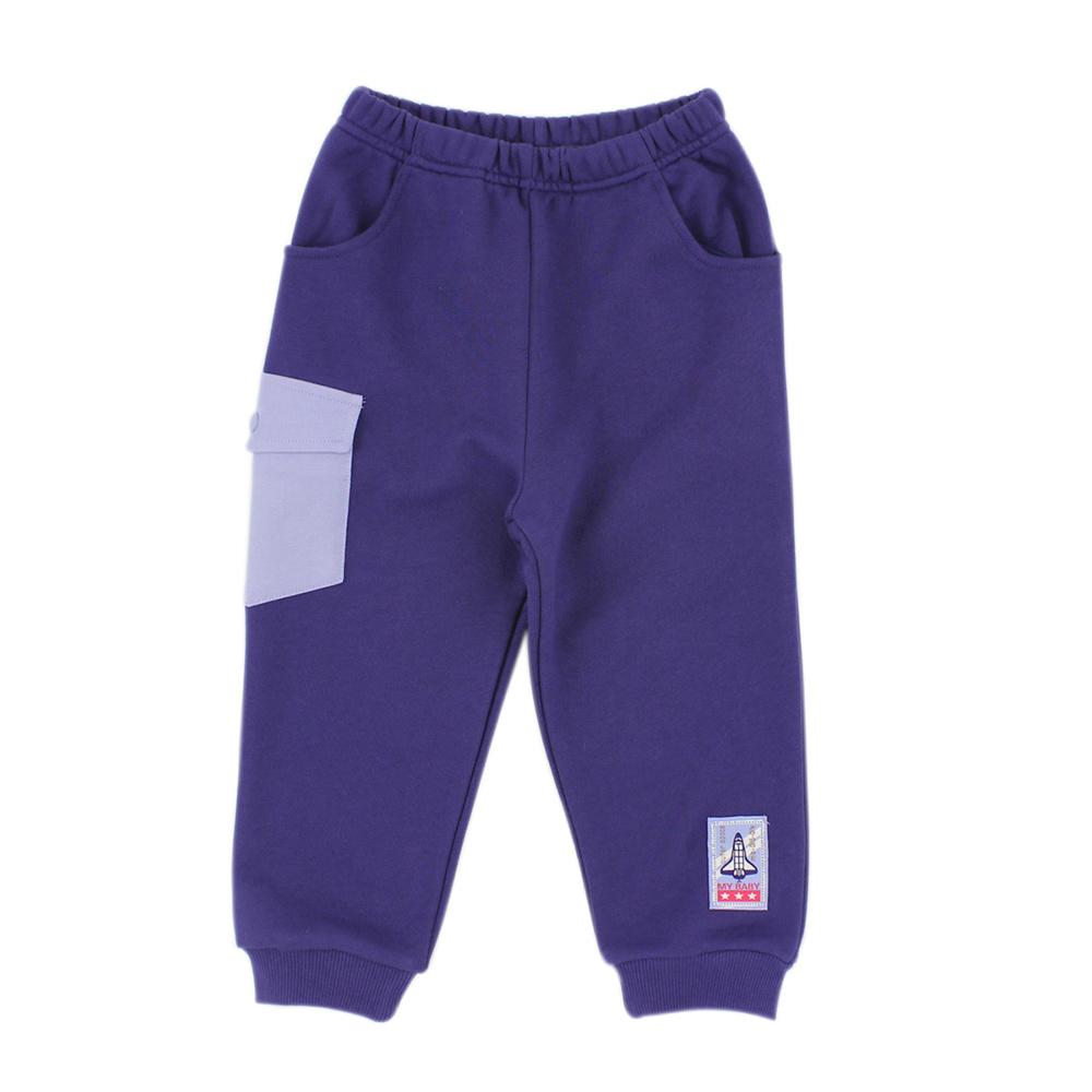 愛的世界 MYBABY 純棉太空人鬆緊帶束口長褲 6~10歲