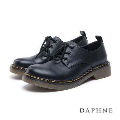 達芙妮DAPHNE 平底鞋-跳色縫線綁帶膠底牛津鞋-黑